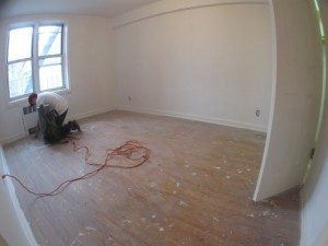 hardwood floors buffing. Hand scrapped manually all corners.